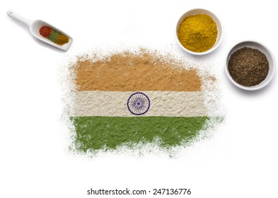 Various spices forming the flag of India.(series)