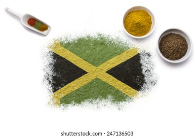 Various spices forming the flag of Jamaica.(series)