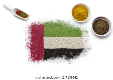 Various spices forming the flag of United Arab Emirates.(series)