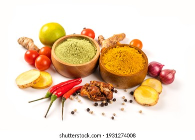 Various spices and herb in bowl isolated on white background.
