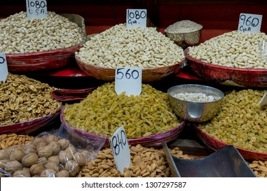 Various spices, herbs, fruits and Nuts for selling at Khari Baoli, spice market in Old Delhi, India.