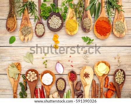 Various Spices Herbs Wooden Spoons Flat Stock Photo (Edit
