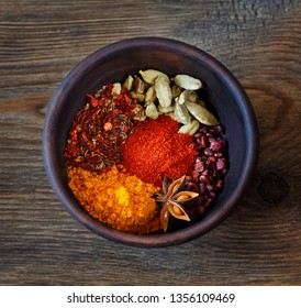 Various Spices like turmeric, cardamom, chili, paprika, ginger, cinnamon, sumac, star anise and thyme on grunge background