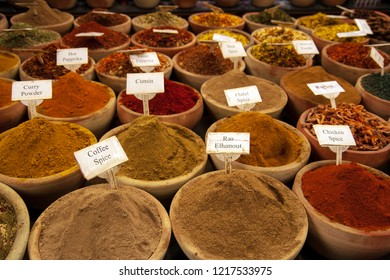 Various spices for sale at a an oriental market.