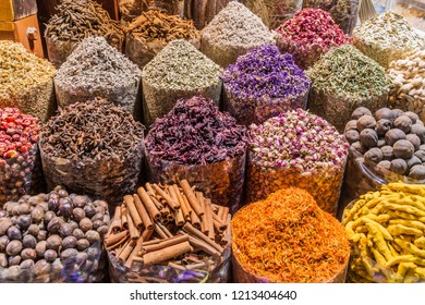 Various spices at the Spice Souq in Deira neighborhood of Dubai, United Arab Emirates