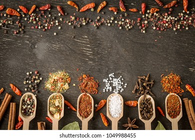 Various spices in wooden spoons  on dark wooden table. Colorful italian spices, top view. Organic food, healthy lifestyle, space for text, banner