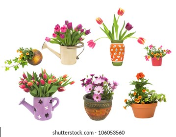 Various spring and summer flower pots and containers isolated on a white background