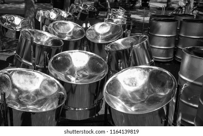 Various steel drums at a festival