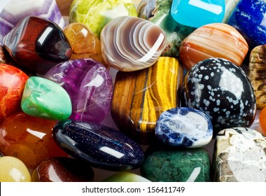 Various stones, minerals, gems. Natural background