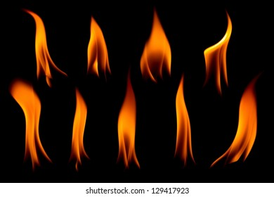 Various styles of fire on black background