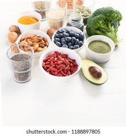 Various superfoods. healthy food concept with copy space