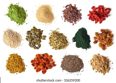 Various superfoods isolated on white background