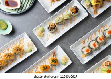 various sushi roll flat lay shot