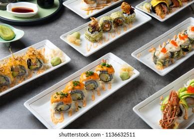 various sushi roll shot