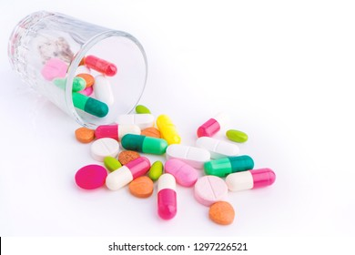 various of Tablets mix heap drugs pills capsules therapy doctor flu antibiotic pharmacy medicine medical on white background.