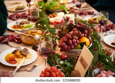 Various tasty dishes on dinner table served for Christmas