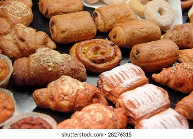 Various tasty pastry lying on a shop counter in Dresden, Germany