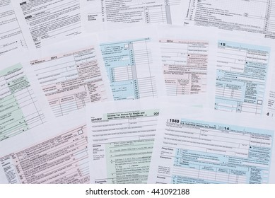 various tax forms as a background