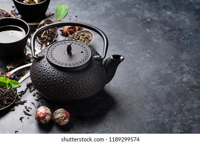 Various tea and teapot. Black, green and red tea. With space for your text