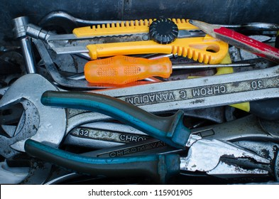 Various tools in a toolbox.