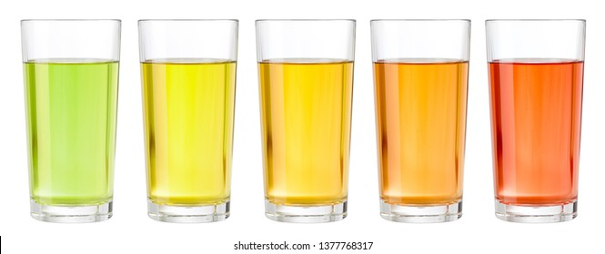 Various transparent juices in glasses isolated