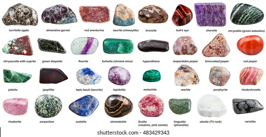various tumbled ornamental stones with names isolated on white background