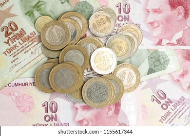 Various Turkish Lira Banknotes and Coins Bunch