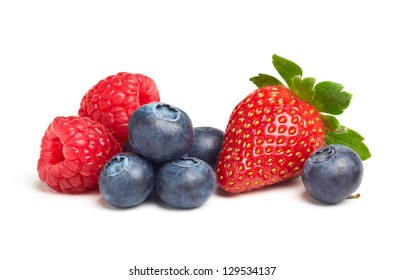 various type of berry fruits isolated on white
