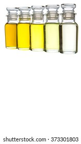 Various type of cooking oil over white background