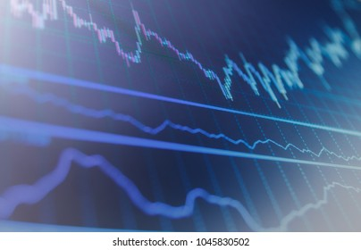 Various type of indicators including volume analysis for professional technical analysis on the monitor of a computer. Stock market concept and background. Finance concept.  Share price quotes.