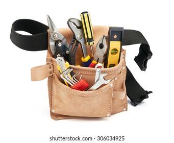 various type of tools in tool belt