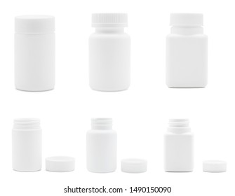 Various type of white plastic medicine bottles isolated on white background, Empty bottles for drugs, tablets, capsules, prescription, vitamins, Medical and drug concept.