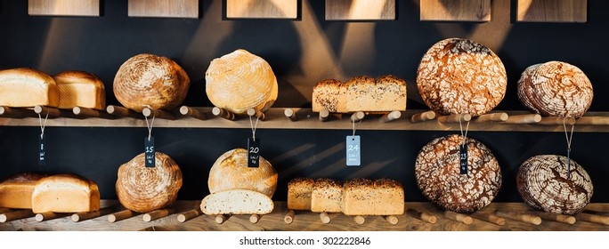 Various types of bread displayed for sale
