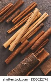 Various types of cinnamon sticks, copy space