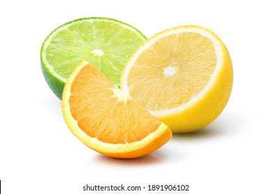 Various types of citrus fruit sliced ( orange, lime, lemon ) isolated on white background.