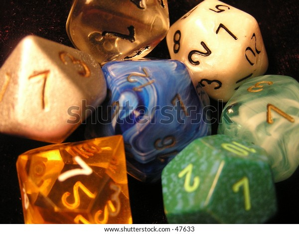 Various types of dice used for role playing games.