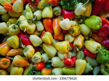 various types of fresh organic peppers for sale at a farmers market