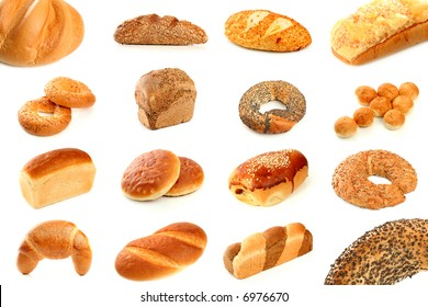 Various types of freshly baked bread, isolated