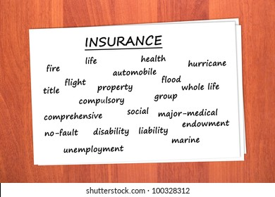 Various types of insurance on table