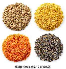Various types of lentils (turkish lentils, green lentils, canadian lentils, indian lentils) isolated on white background