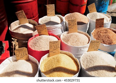 Various types of rice on sale, Analakely Market, Antananarivo