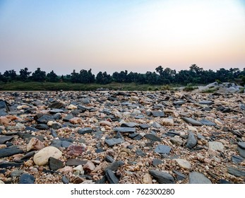 Various types of stones at a river in India
