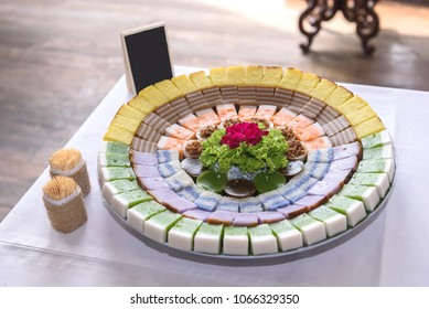 "Various types of traditional Chinese ""nyonya"" cake typically served at weddings."
