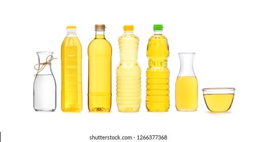 Various types of vegetable oil PET (polyethylene terephthalate) bottle and glass bottle isolated on white background.