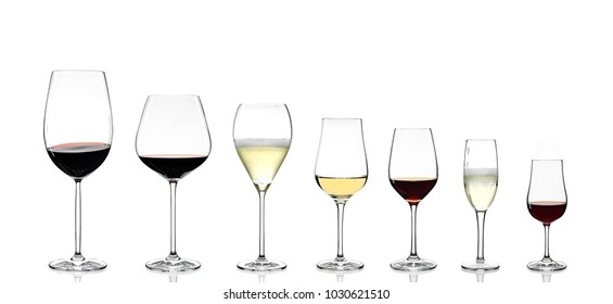 various types of wines glasses