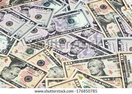 Various US Dollar Notes Scattered Focus Stock Photo (Edit Now