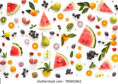 Various vegetables and fruits isolated on white background, top view, flat layout. Concept of healthy eating, food background.