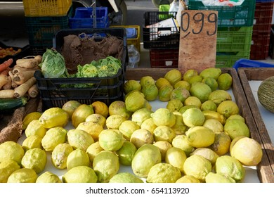 Various vegetables and fruits on the Sunday market in Spain, Mercadillo de Campo de Guardamar.