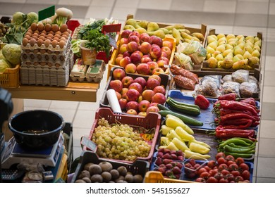 Various vegetables offered for sale in a market