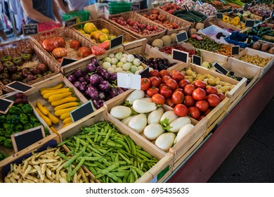 Various vegetables on a French market